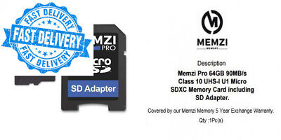 MEMZI PRO 64GB Class 10 90MB/s Micro SDXC Memory Card with SD Adapter for...