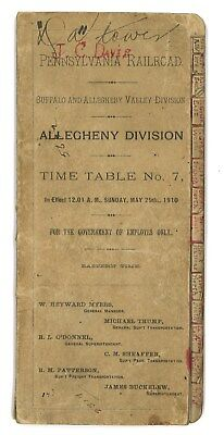 1910 Pennsylvania Railroad PRR Allegheny Division Employee Timetable No. 7