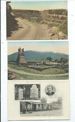 3 Postcards Hand Colored Church Kit Carsons Home Canon Taos NM New Mexico