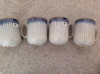 New 4 Denby Blue Stripe Mugs