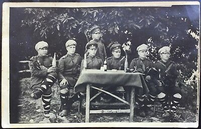 Group Of Soldiers Relaxing  - Nationality Unknown - Antique Real Photo Postcard