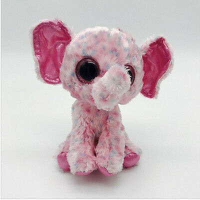 Cute Powder point elepha TY Beanie Boos Plush Stuffed Toys Glitter Eyes (6 inch)