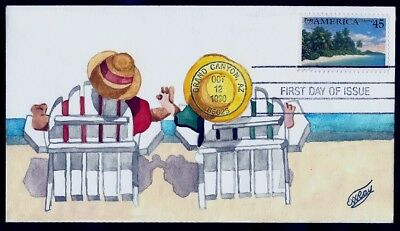 RAY H/D, Hand Painted  : 1990 America's Southeastern Coast on One-of-a-Kind FDC