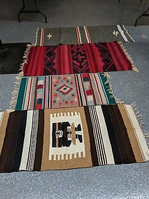 Four Wool Indian Blankets/Saddle Blankets Zapotec?