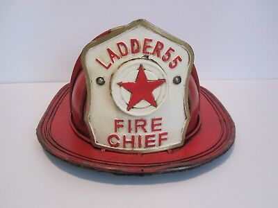 Ladder 55 Chief  Firefighter Helmet Hat Metal Tin