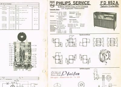 Philips Saturn 852 FD852A Schaltplan original 1955 Manual 10 Seiten