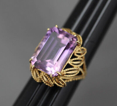 Big Vintage Estate 14K Yellow Gold 11.5 Ct. Emerald Cut Amethyst Cocktail Ring
