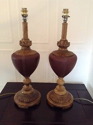 Pair Of Vintage Tall Heavy Ornate Table Lamps Leather & Wood Effect Fantastic
