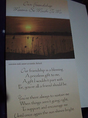 """Greetings card - """"Our Friendship Means So Much To Me"""" - beautiful verse"""