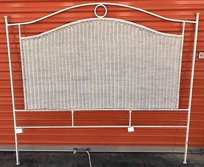 Contemporary Wicker QUEEN SIZE HEADBOARD Iron Frame Painted OFF WHITE EUC