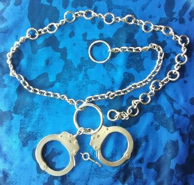 Peerless Handcuff Co. Belly/Restraint/Waist Chain W/Model 700 Police Handcuffs!!