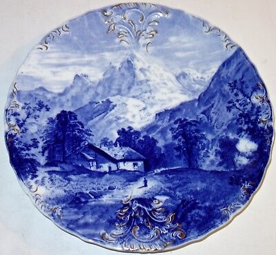 "Large ANTIQUE Meaken BLUE & WHITE 11-1/2"" CHARGER PLATE w/MOUNTAIN CHALET~L #4!"