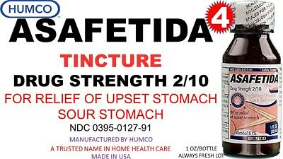 4 Humco Asafetida Tincture 1 oz For Upset, Sour Stomach Alcohol 81% Exp. 10/2020