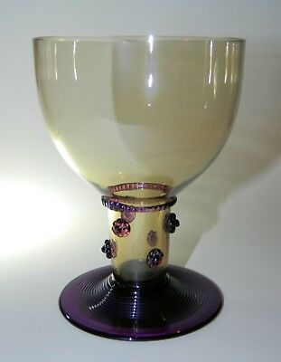 Antique ROEMER Rummer, Hollow Stem, Amber with Purple Prunts, Threaded Foot