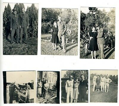 Photo lot of WW2 Soldiers Home Photographs ladies men family Mixed snapshots vtg