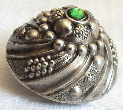 RARE ANTIQUE 19th CENTURY HAND WORKED 800 SILVER BUTTON w/HAND CUT PERIDOT JEWEL