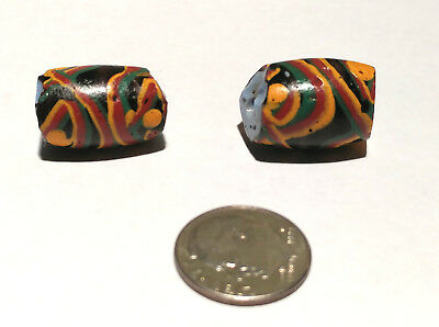 Pair of Rare Antique Venetian Black Fancy African Glass Trade Beads
