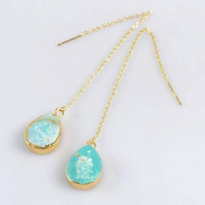 """4.5"""" 16x12mm Drop Genuine Turquoise Long Threader Earrings Gold Plated B067924"""