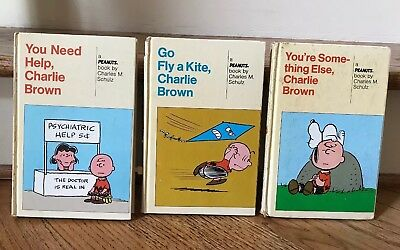 LOT of 3 Vintage Charlie Brown PEANUTS Hardcover Books By Charles Schulz 1960-68