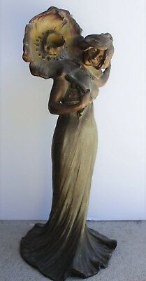 Antique French Art Nouveau Patinated Bronze Figural Maiden Newel Post Lamp Old