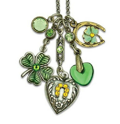 Anne Koplik Lucky Shamrock & Horseshoe Jumble Charm Necklace ~~Made In Usa~~