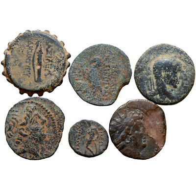 Lot Of 6 Ancient Greek Bronze Coins Circa 200-100 Bc