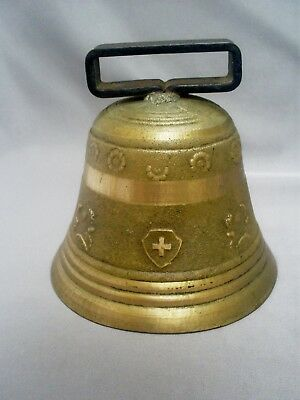 "FINE VINTAGE SOLID CAST BRONZE DECORATIVE SWISS 4.95"" DIAMETER COW BELL 810 g"