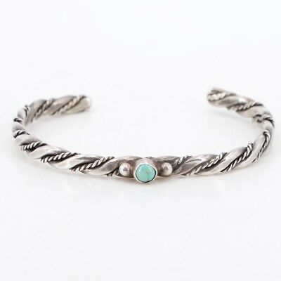"""VTG Sterling Silver - NAVAJO Braided Twisted Turquoise 5.75"""" Cuff Bracelet - 11g"""