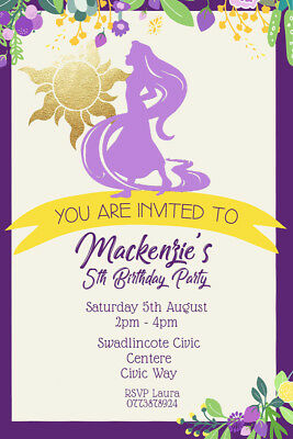 PERSONALISED TANGLED PRINCESS Rapunzel Birthday Party Invites Envelopes T8
