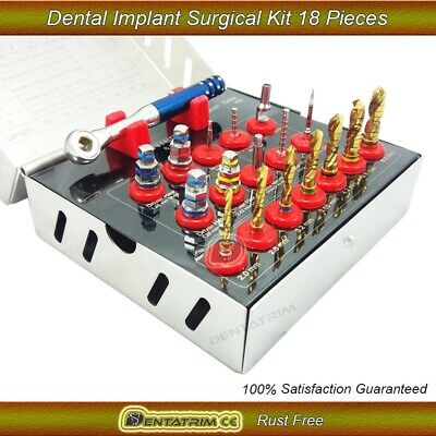 Dental Implant Surgical Drills Kit Wrench Ratchet Driver Screws 18Pcs New