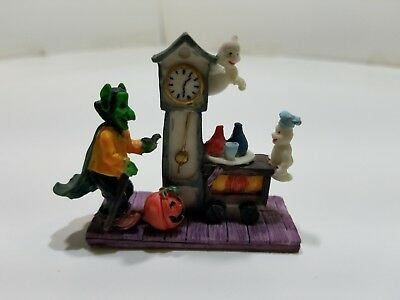 Hand Painted Tabletop Ornament Halloween Ghosts and Goblin by Grandfather Clock