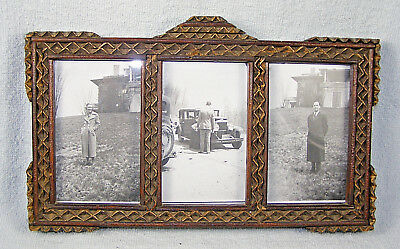 Vintage Tramp Art Wood Picture Frame  with Three 1930's Honeymoon Pictures
