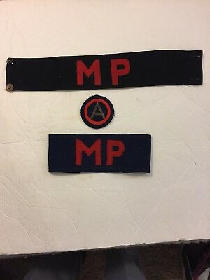 Vintage WWII British Military MP Armbands And Insignia