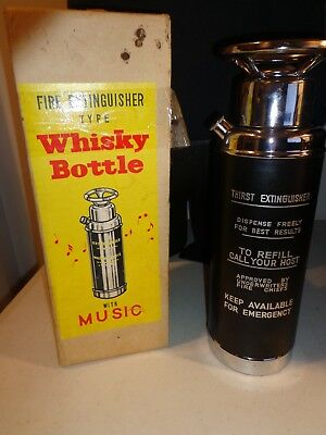Vintage Fire Extinguisher WHISKY BOTTLE MUSIC PLAYER Plays How Dirty I Am