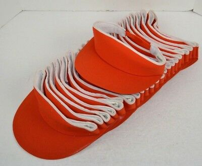 Vintage Lot of 24 Terry Lined Sun Visors Hats, Orange/White Snapback NOS