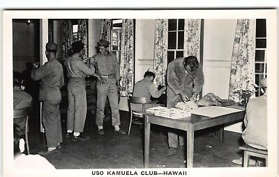 "KAMUELA CLUB Big Island ""Hawaii USO"" Real Photo Postcard RPPC by Walt's WWII"