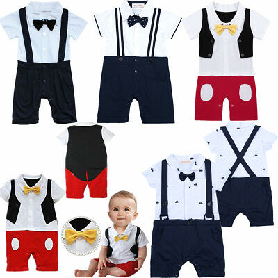 Baby Toddler Boys Wedding Christening Tuxedo Formal Party Suits Outfit Clothes