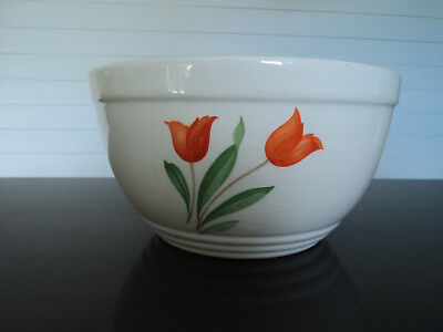 """Knowles Utility Ware Large Mixing Bowl W/tulip Pattern 10"""" Size"""