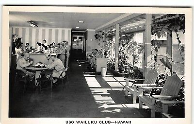 "#5 Interior 3 ""USO WAILUKU CLUB"" MAUI Hawaii Photo Postcard RPPC WWII"