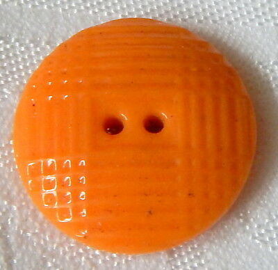 "ANTIQUE 7/8"" FRENCH MELON ORANGE CHINA BUTTON w/MOLDED PLAID TOP"