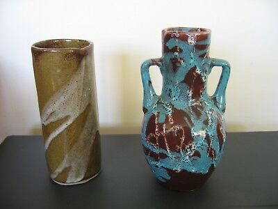 2 Pottery Vases 1 marked Cowbridge, Other Fat Lava Style