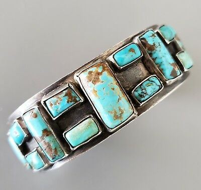 Unusual Early Vintage NAVAJO Turquoise Bracelet with BUTTERFLY Stamped Terminals