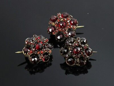 Garnet Cluster Pins Brooches Lot of 3 Vintage Antique Silver 6.3 Grams