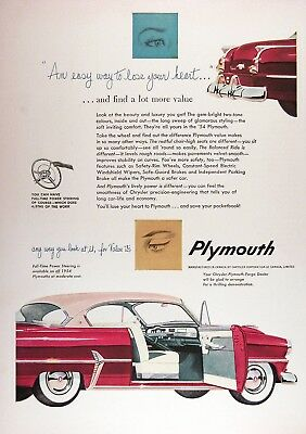 1954 PLYMOUTH COUPE Genuine Vintage Advertisement ~ RARE CDN Ad