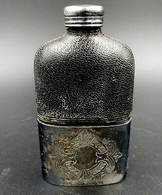 Antique 1850s silver and leather ladies companion purse flask