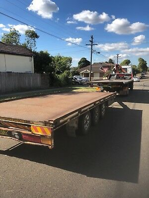 20ft Triaxle Flattop Pig Trailer Tilt Tray 4500 GVM, Car Trailer Table Dog