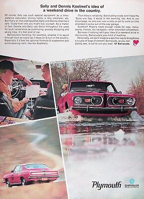 1967 PLYMOUTH BARRACUDA Lot of (2) Original Vintage Advertisements ~ SCAA Champ