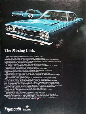 1968 PLYMOUTH ROAD RUNNER Genuine Vintage Advertisement ~ The Missing Link