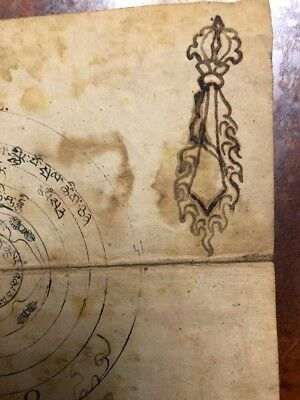 Antique  Tibet-Mongolian Buddhist Hand Drawn Picture.