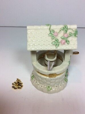 Lenox China Treasures Trinket Box Garden Wishes Well Butterfly 4 Leaf Clover